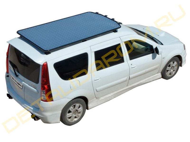 Багажник - платформа ТехноСфера Трофи с алюминиевым листом на Ларгус