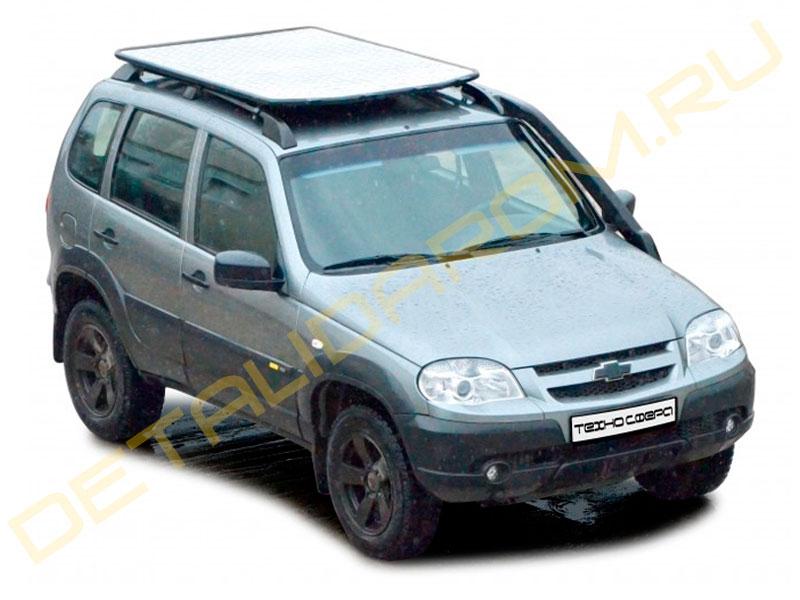 Багажник - платформа ТехноСфера Трофи с алюминиевым листом на рейлинги Шевроле Нива 2123