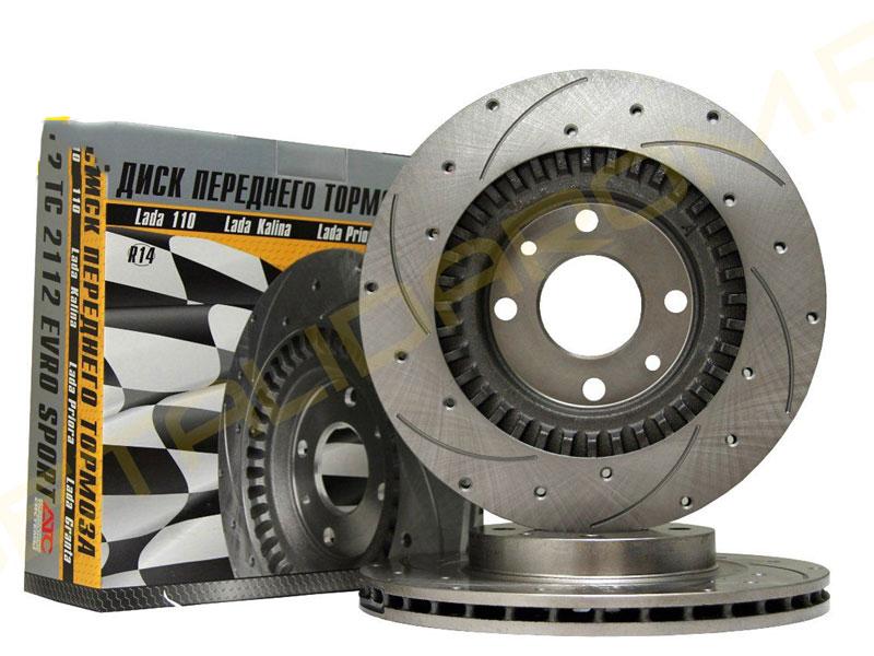 Передние тормозные диски R-14 АТС перфорация и проточки для ВАЗ 2112 Sport